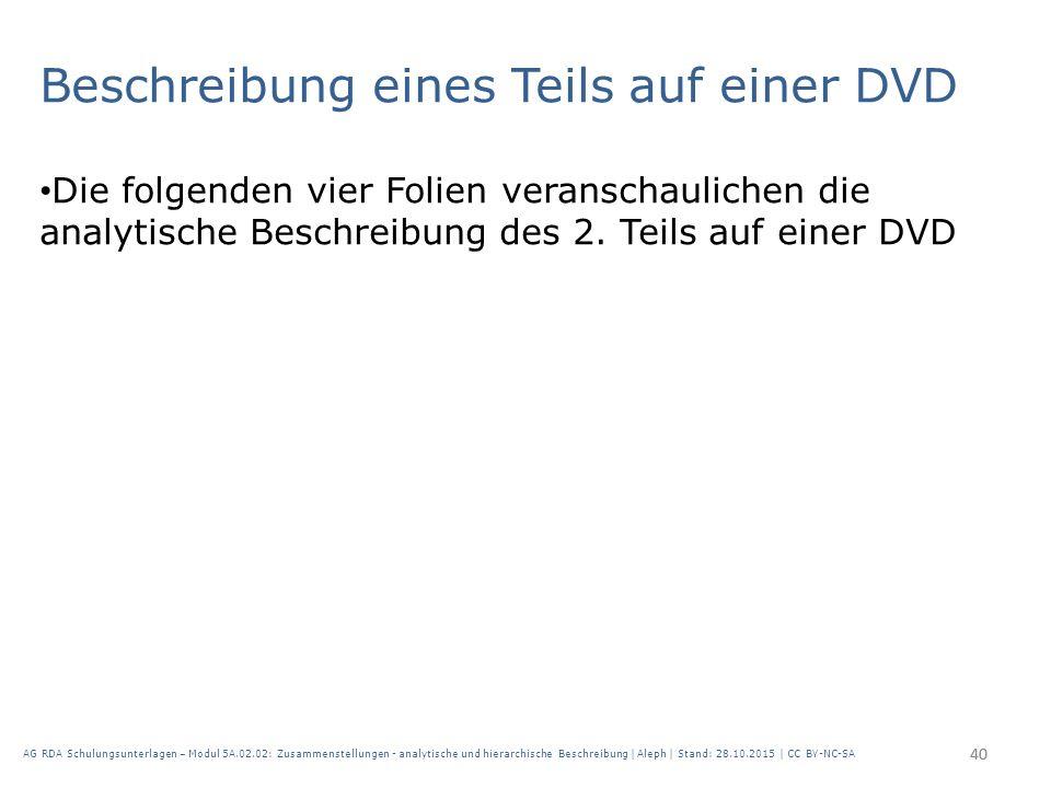 Beschreibung eines Teils auf einer DVD Die folgenden vier Folien veranschaulichen die analytische Beschreibung des 2. Teils auf einer DVD 40 AG RDA Sc