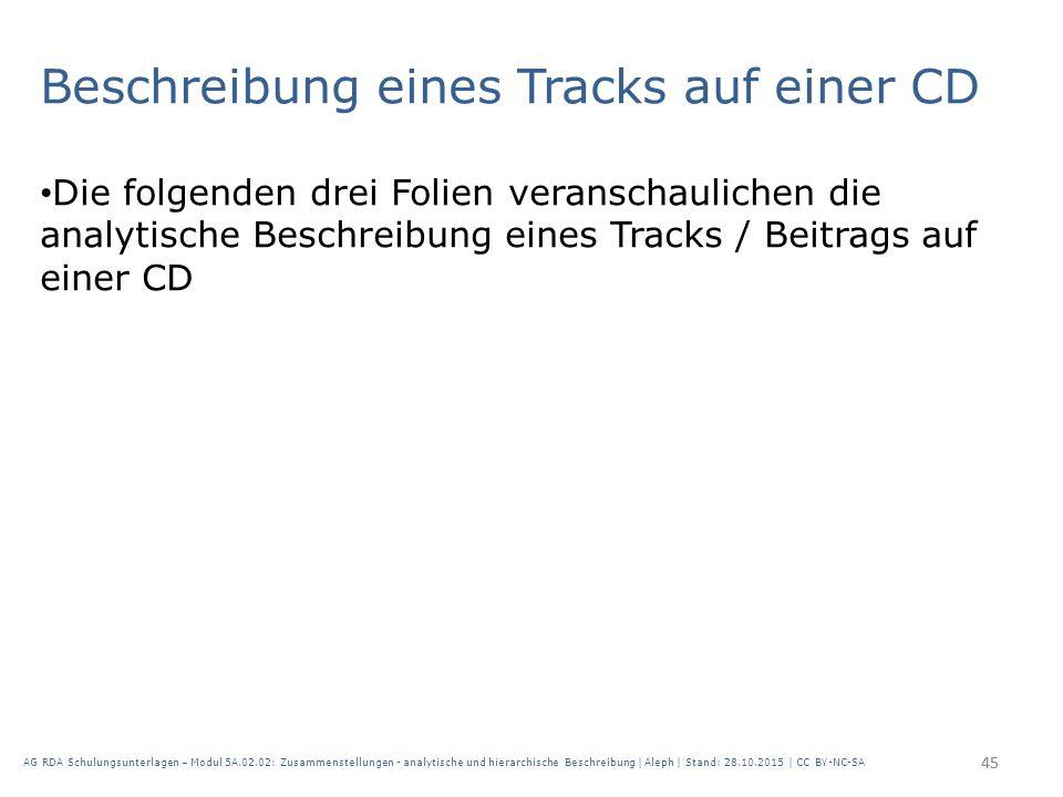 Beschreibung eines Tracks auf einer CD Die folgenden drei Folien veranschaulichen die analytische Beschreibung eines Tracks / Beitrags auf einer CD 45