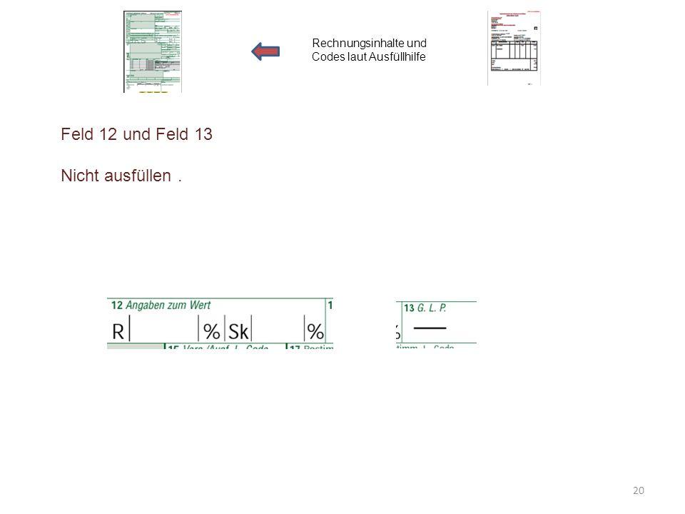 Feld 12 und Feld 13 Nicht ausfüllen. Rechnungsinhalte und Codes laut Ausfüllhilfe 20
