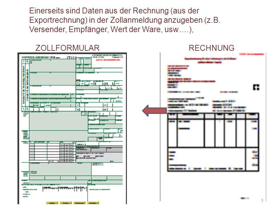 """Feld 44 Im vorliegendem Exportfall haben wir nach dem Code 20100 (für Unversteuerte Erzeugnisse ) noch die Exportrechnung und die """"Ursprungserklärung (UE) auf der Rechnung zu codieren: [Auf der Exportrechnung ist die Ursprungserklärung angeführt.] Rechnungsinhalte und Codes laut Ausfüllhilfe N864 N380 (EX SAN 1305 - 09/10) 20100 64"""