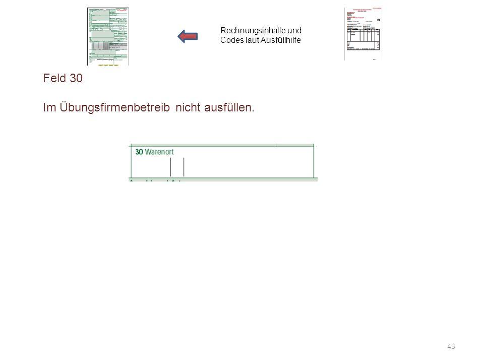 Feld 30 Im Übungsfirmenbetreib nicht ausfüllen. Rechnungsinhalte und Codes laut Ausfüllhilfe 43