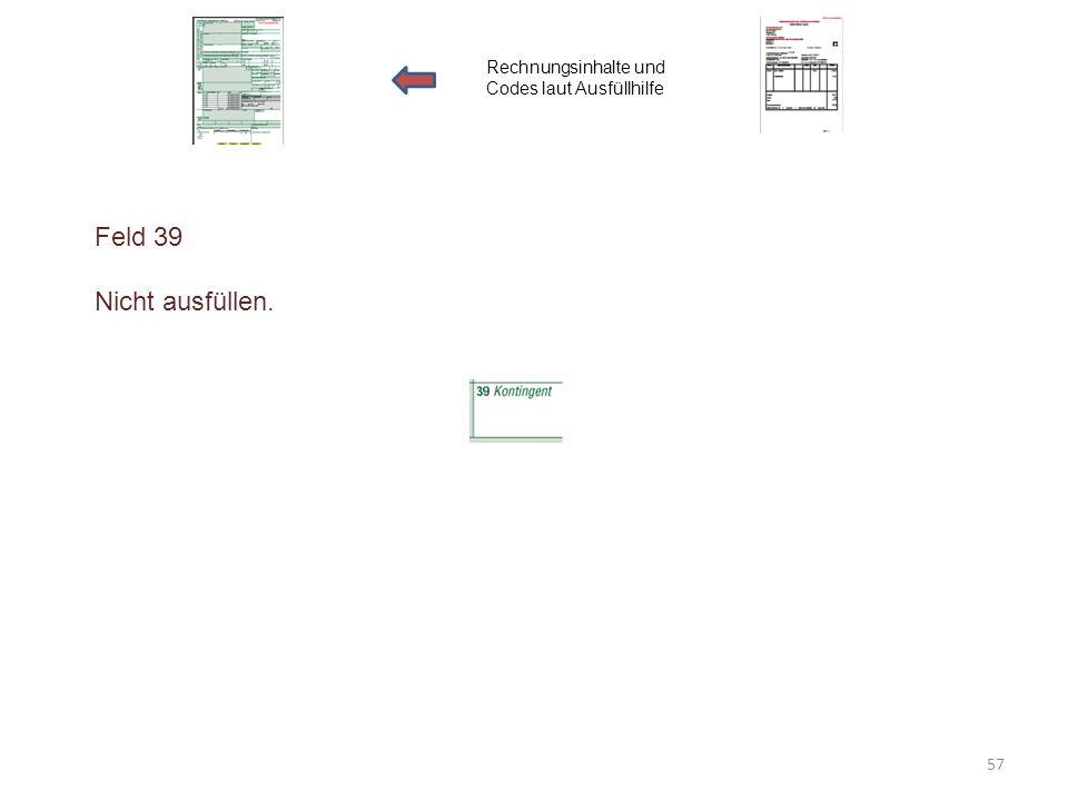 Feld 39 Nicht ausfüllen. Rechnungsinhalte und Codes laut Ausfüllhilfe 57