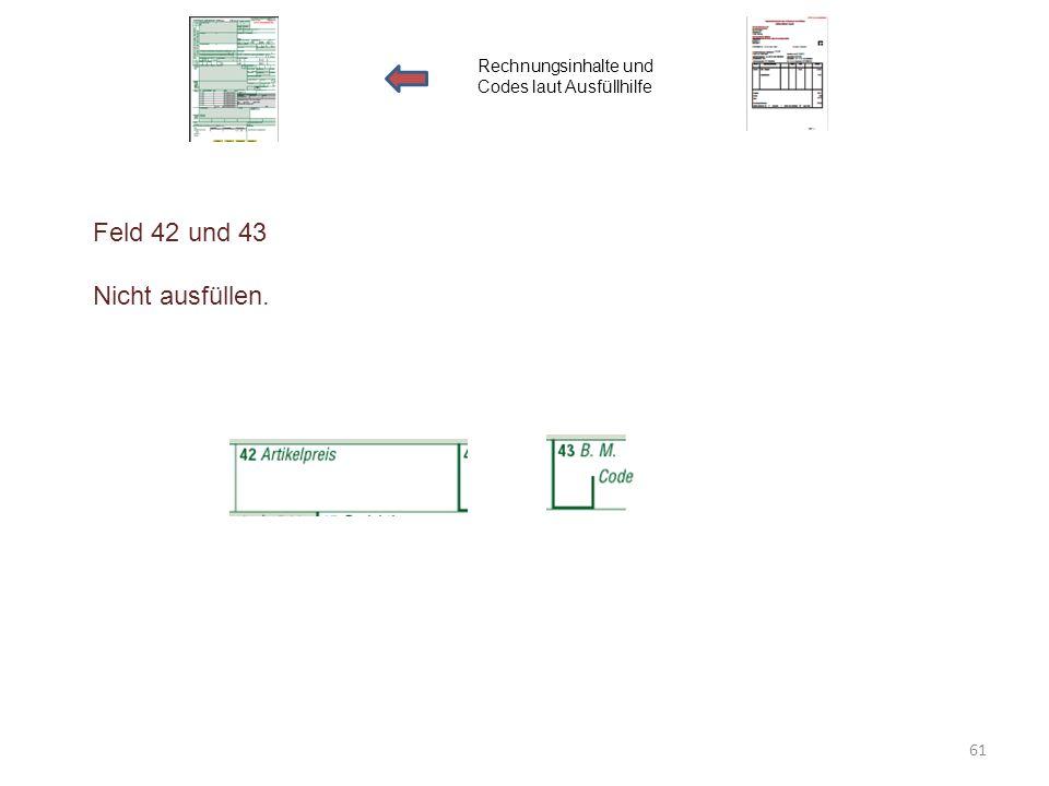 Feld 42 und 43 Nicht ausfüllen. Rechnungsinhalte und Codes laut Ausfüllhilfe 61