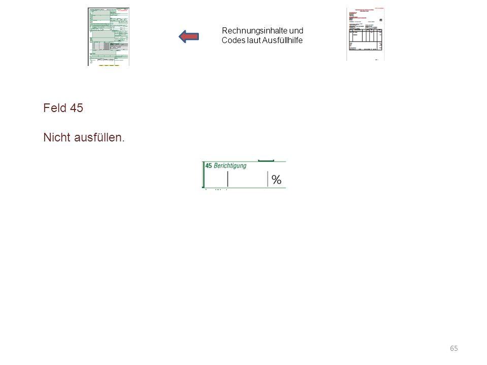 Feld 45 Nicht ausfüllen. Rechnungsinhalte und Codes laut Ausfüllhilfe 65