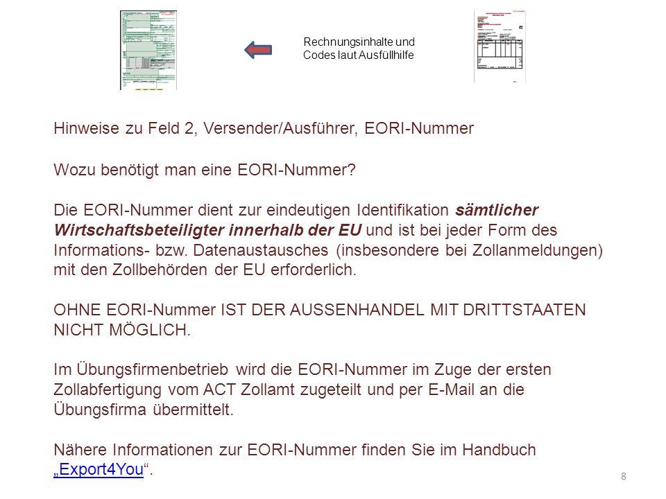 Hinweise zu Feld 2, Versender/Ausführer, EORI-Nummer Rechnungsinhalte und Codes laut Ausfüllhilfe Wozu benötigt man eine EORI-Nummer? Die EORI-Nummer