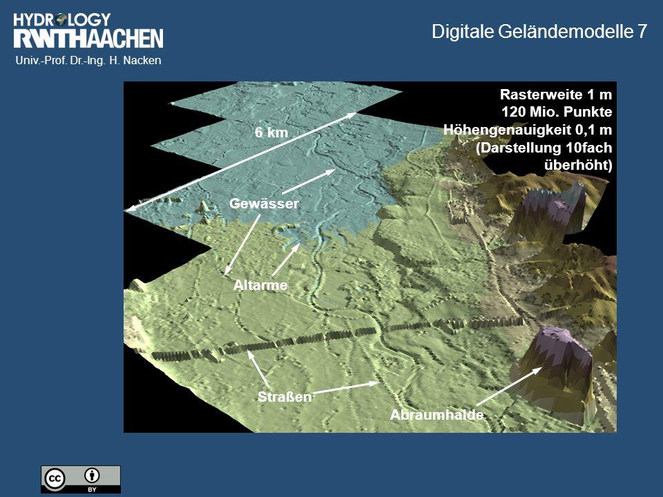 Univ.-Prof. Dr.-Ing. H. Nacken Gewässer StraßenAbraumhalde 6 km Altarme Rasterweite 1 m 120 Mio.