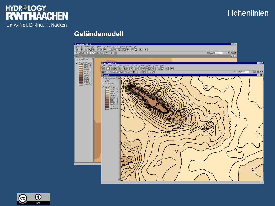 Univ.-Prof. Dr.-Ing. H. Nacken Geländemodell Höhenlinien