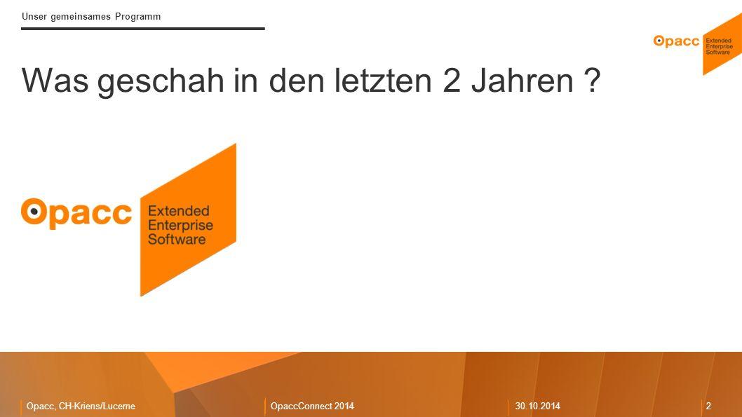 Opacc, CH-Kriens/LucerneOpaccConnect 201430.10.2014 2 Was geschah in den letzten 2 Jahren .