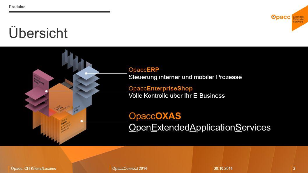 Opacc, CH-Kriens/LucerneOpaccConnect 201430.10.2014 3 Übersicht Produkte OpaccOXAS OpenExtendedApplicationServices OpaccERP Steuerung interner und mobiler Prozesse OpaccEnterpriseShop Volle Kontrolle über Ihr E-Business
