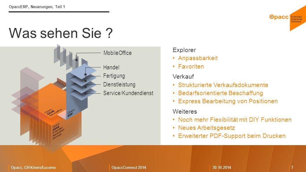 Opacc, CH-Kriens/LucerneOpaccConnect 201430.10.2014 7 Was sehen Sie .