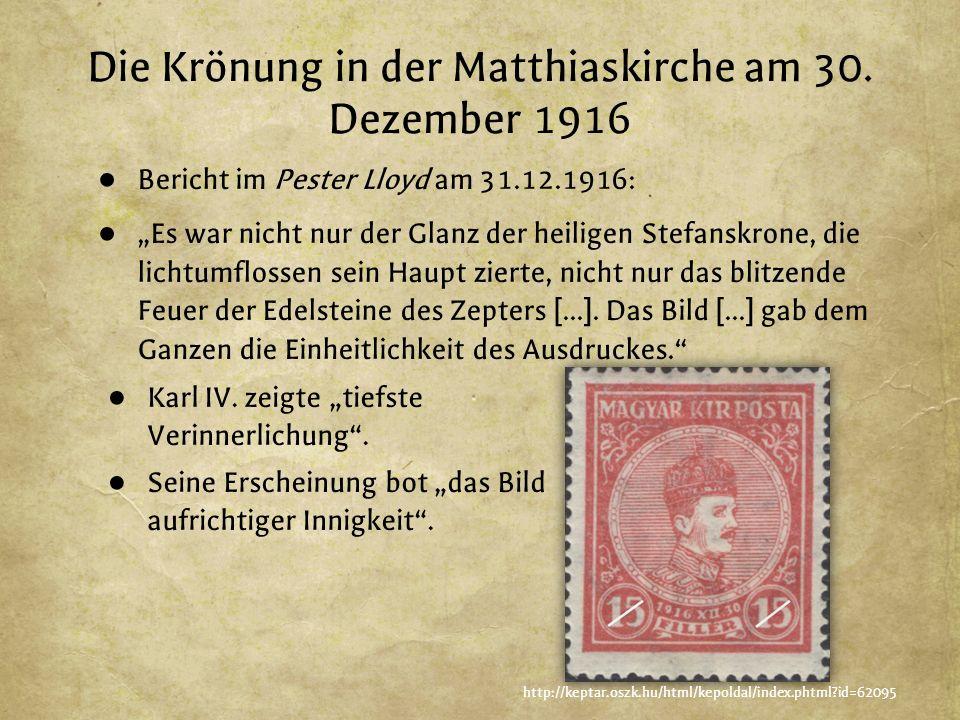 Die Krönung in der Matthiaskirche am 30.