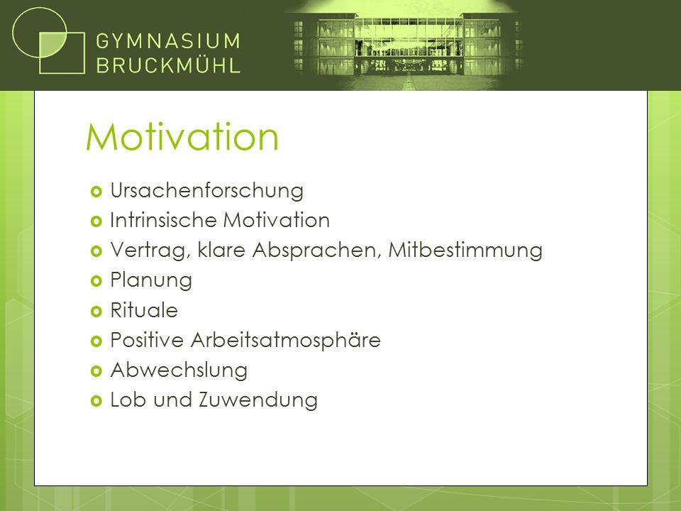 Motivation  Ursachenforschung  Intrinsische Motivation  Vertrag, klare Absprachen, Mitbestimmung  Planung  Rituale  Positive Arbeitsatmosphäre  Abwechslung  Lob und Zuwendung