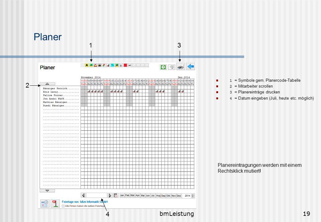 bmLeistung19 Planer 1 = Symbole gem. Planercode-Tabelle 2 = Mitarbeiter scrollen 3 = Planereinträge drucken 4 = Datum eingeben (Juli, heute etc. mögli