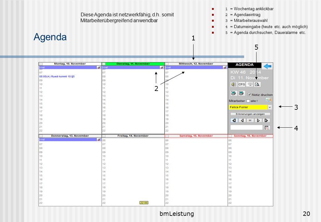 bmLeistung20 Agenda 1 = Wochentag anklickbar 2 = Agendaeintrag 3 = Mitarbeiterauswahl 4 = Datumeingabe (heute etc. auch möglich) 5 = Agenda durchsuche
