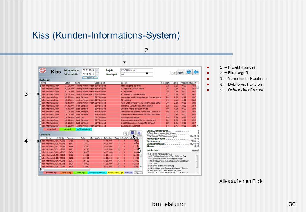 bmLeistung30 Kiss (Kunden-Informations-System) 1 = Projekt (Kunde) 2 = Filterbegriff 3 = Verrechnete Positionen 4 = Debitoren, Fakturen 5 = Öffnen ein