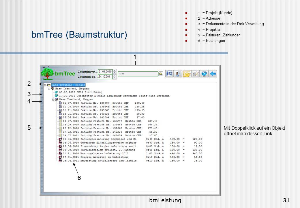 bmLeistung31 bmTree (Baumstruktur) 1 = Projekt (Kunde) 2 = Adresse 3 = Dokumente in der Dok-Verwaltung 4 = Projekte 5 = Fakturen, Zahlungen 6 = Buchun