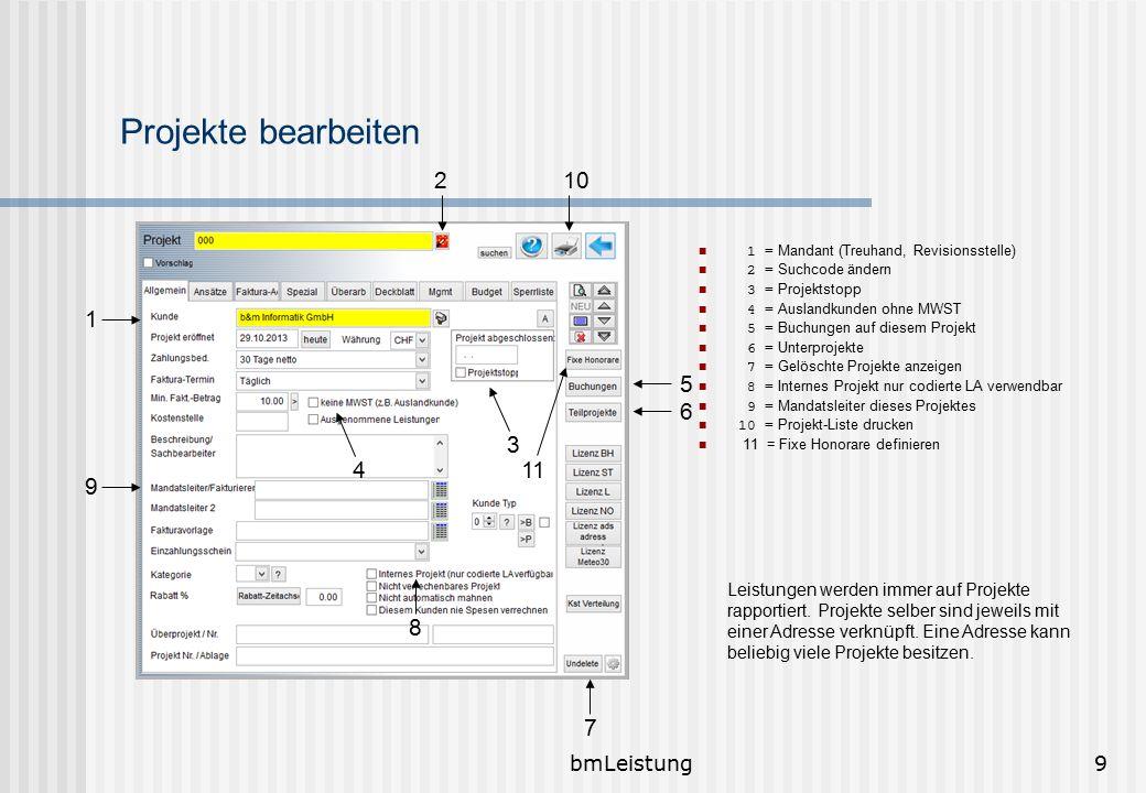 bmLeistung10 Unterprojekte Damit in den Projekten das Menü Unterprojekte erscheint, muss im Menü Branche die entsprechende Aktivierung gemacht werden.