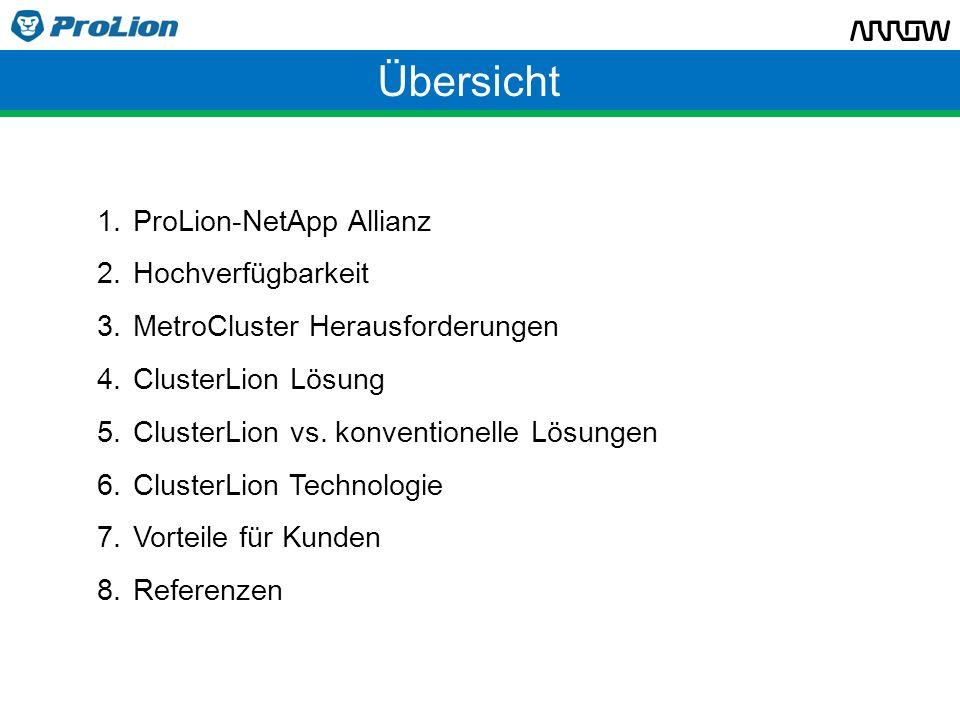 NetApp Allianz ProLion Geschäftsführer Robert Graf: frührer NetApp Country Manager in Österreich, 7 Jahre @ NetApp ClusterLion exklusiv für NetApp MetroCluster NetApp Alliance Partner EU Distributionspartner: Arrow ECS