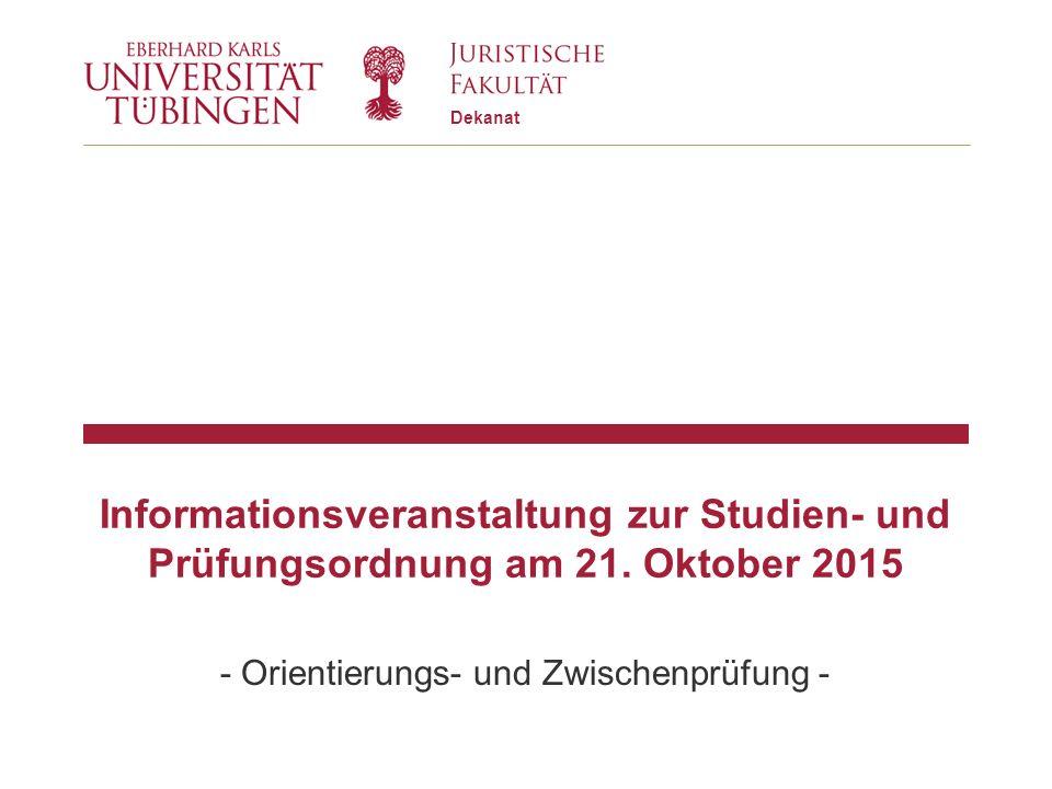 Dekanat Informationsveranstaltung zur Studien- und Prüfungsordnung am 21.