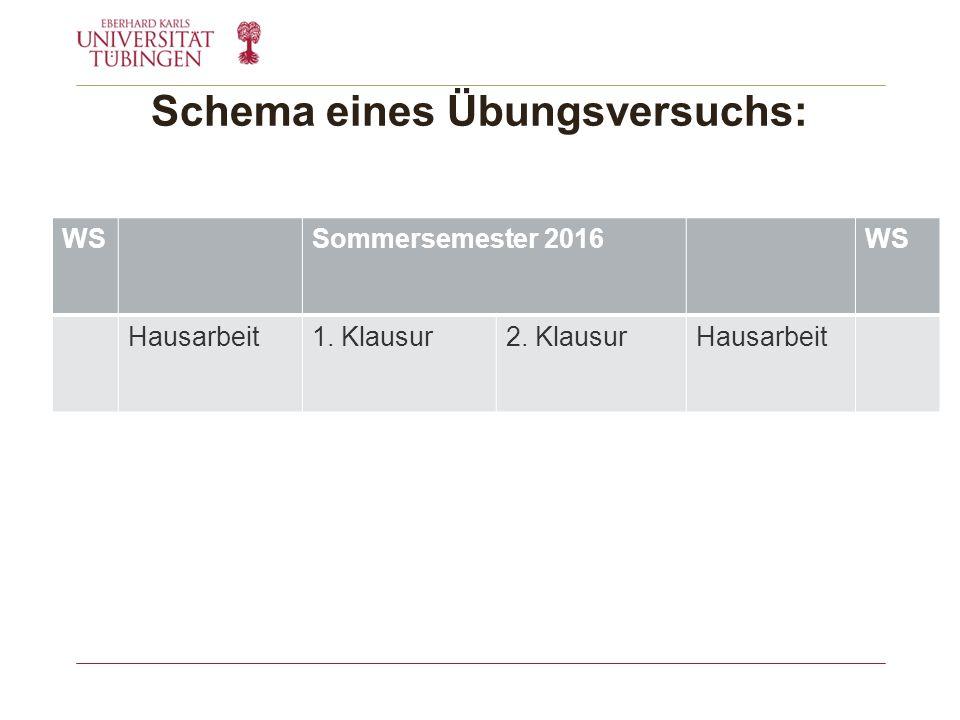 Schema eines Übungsversuchs: WSSommersemester 2016WS Hausarbeit1. Klausur2. KlausurHausarbeit