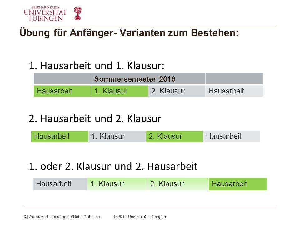 Übung für Anfänger- Varianten zum Bestehen: 6 | Autor/Verfasser/Thema/Rubrik/Titel etc.© 2010 Universität Tübingen 1.