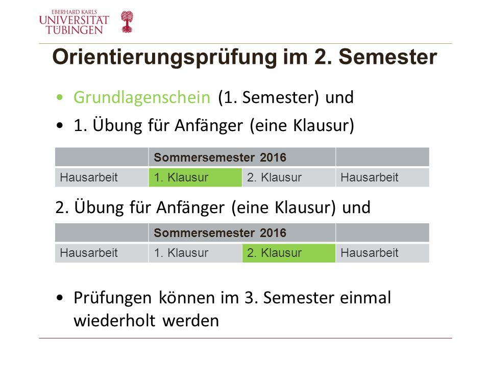 Orientierungsprüfung im 2. Semester Grundlagenschein (1.