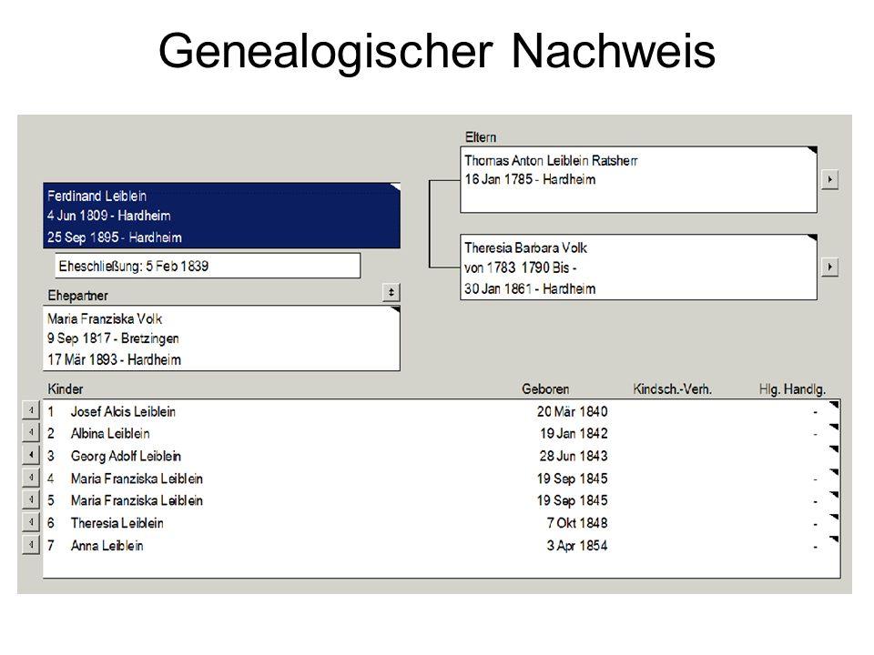 Genealogischer Nachweis