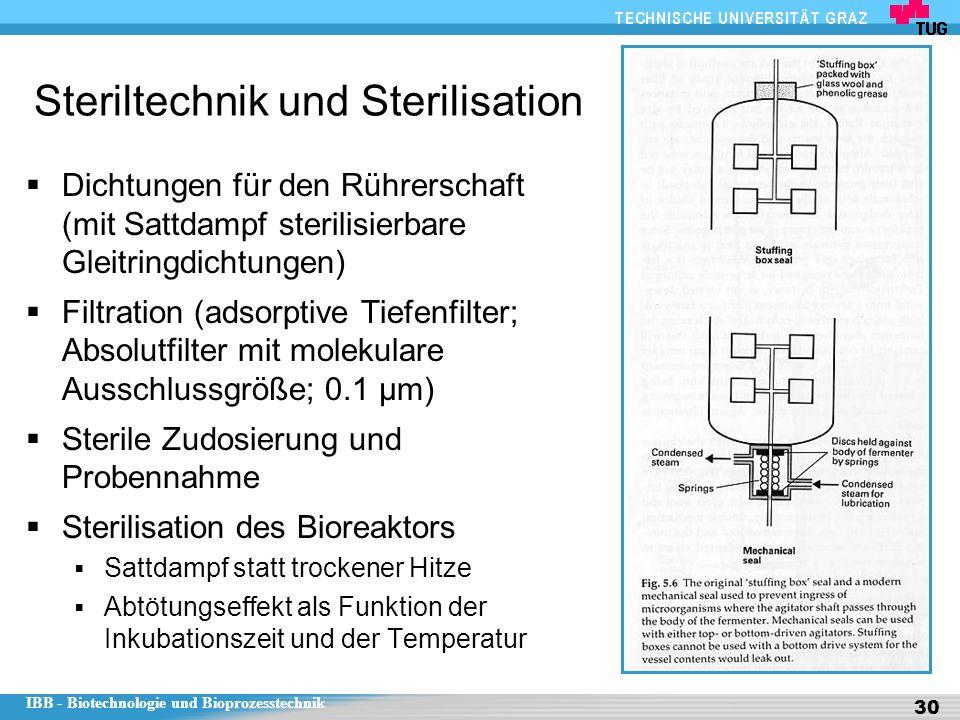 IBB - Biotechnologie und Bioprozesstechnik 30 Steriltechnik und Sterilisation  Dichtungen für den Rührerschaft (mit Sattdampf sterilisierbare Gleitringdichtungen)  Filtration (adsorptive Tiefenfilter; Absolutfilter mit molekulare Ausschlussgröße; 0.1 µm)  Sterile Zudosierung und Probennahme  Sterilisation des Bioreaktors  Sattdampf statt trockener Hitze  Abtötungseffekt als Funktion der Inkubationszeit und der Temperatur