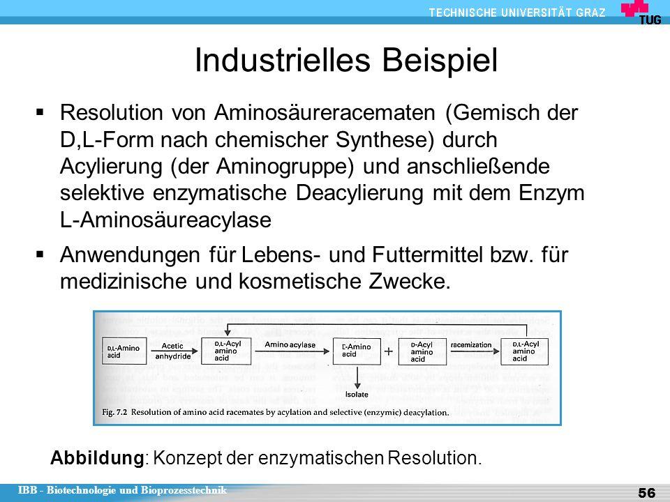 IBB - Biotechnologie und Bioprozesstechnik 56 Industrielles Beispiel  Resolution von Aminosäureracematen (Gemisch der D,L-Form nach chemischer Synthese) durch Acylierung (der Aminogruppe) und anschließende selektive enzymatische Deacylierung mit dem Enzym L-Aminosäureacylase  Anwendungen für Lebens- und Futtermittel bzw.