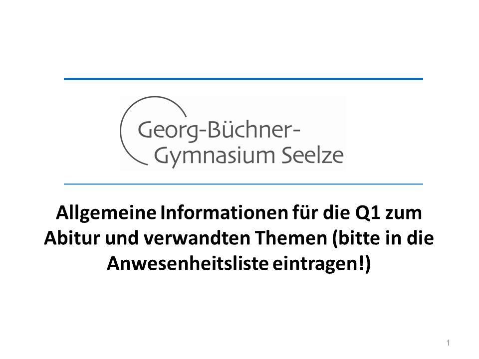 1 Allgemeine Informationen für die Q1 zum Abitur und verwandten Themen (bitte in die Anwesenheitsliste eintragen!)