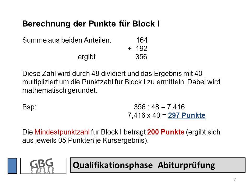 7 Qualifikationsphase Abiturprüfung Berechnung der Punkte für Block I Summe aus beiden Anteilen: 164 + 192 ergibt 356 Diese Zahl wird durch 48 dividiert und das Ergebnis mit 40 multipliziert um die Punktzahl für Block I zu ermitteln.