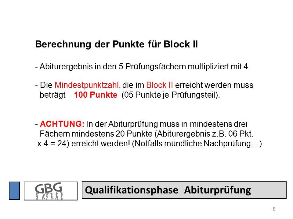 8 Qualifikationsphase Abiturprüfung Berechnung der Punkte für Block II - Abiturergebnis in den 5 Prüfungsfächern multipliziert mit 4.