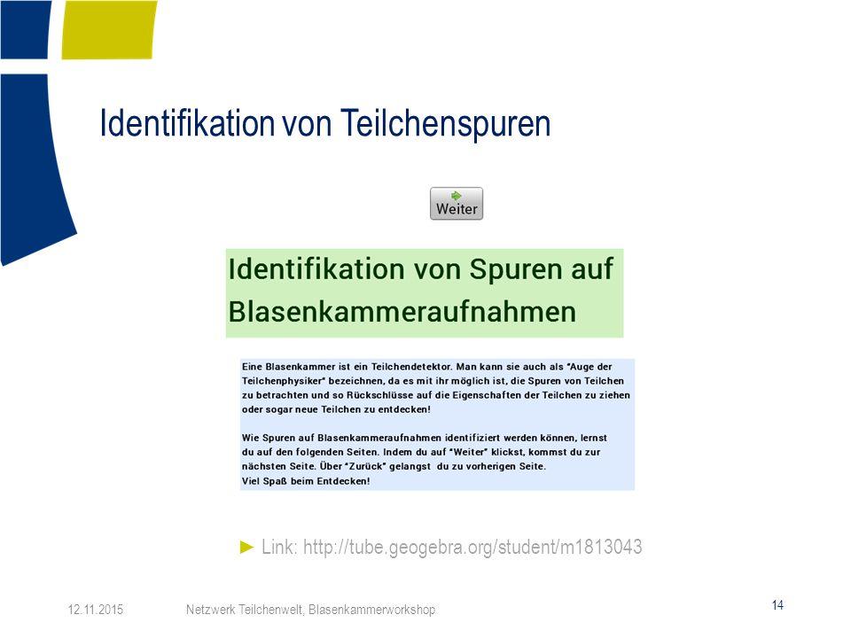Identifikation von Teilchenspuren 14 ► Link: http://tube.geogebra.org/student/m1813043 12.11.2015 Netzwerk Teilchenwelt, Blasenkammerworkshop