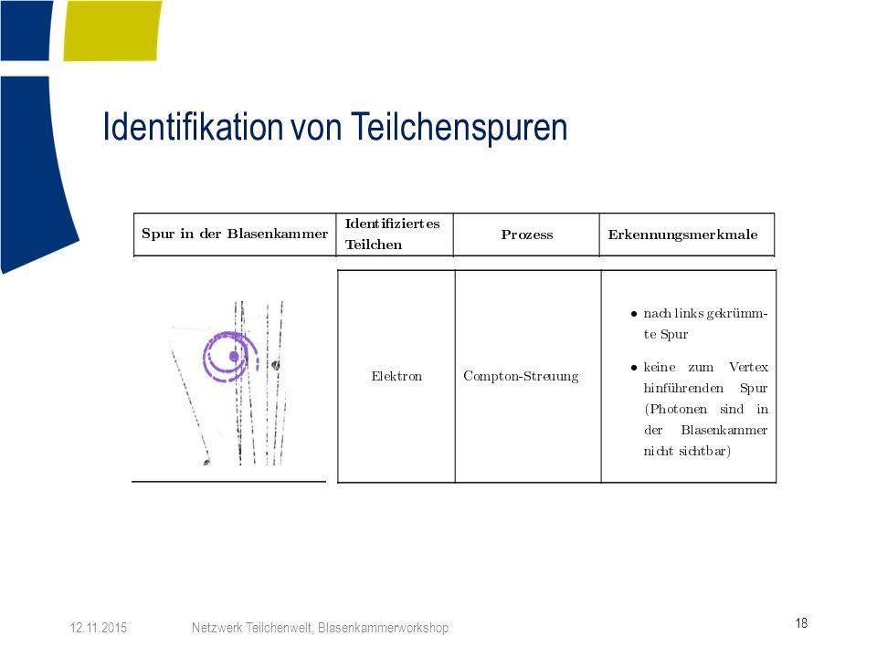 Identifikation von Teilchenspuren 18 12.11.2015 Netzwerk Teilchenwelt, Blasenkammerworkshop