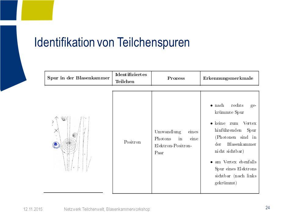 Identifikation von Teilchenspuren 24 12.11.2015 Netzwerk Teilchenwelt, Blasenkammerworkshop