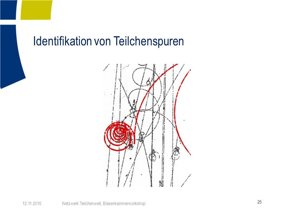 Identifikation von Teilchenspuren 25 12.11.2015 Netzwerk Teilchenwelt, Blasenkammerworkshop