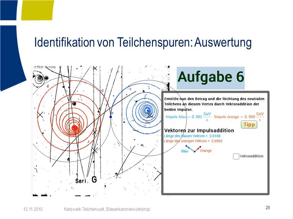 Identifikation von Teilchenspuren: Auswertung 28 12.11.2015 Netzwerk Teilchenwelt, Blasenkammerworkshop