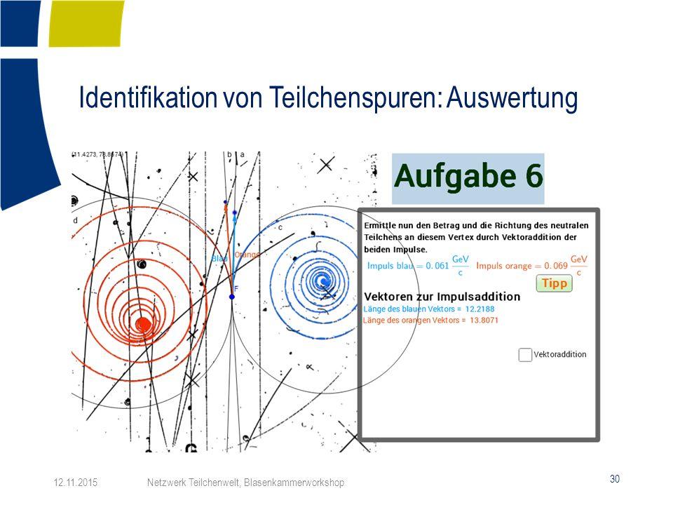 Identifikation von Teilchenspuren: Auswertung 30 12.11.2015 Netzwerk Teilchenwelt, Blasenkammerworkshop