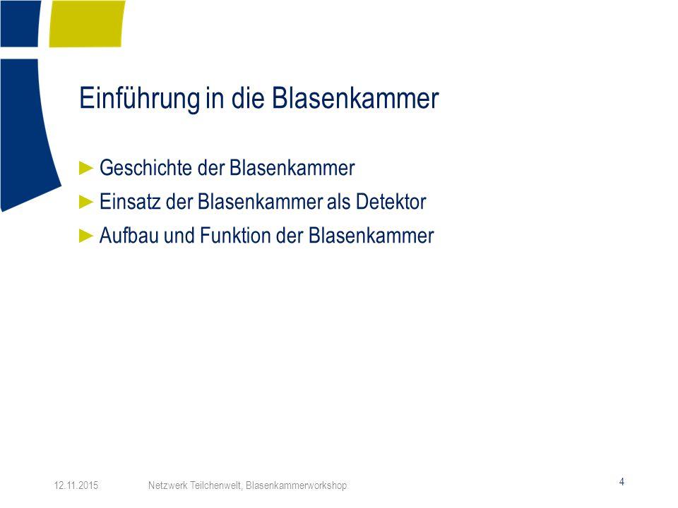 Einführung in die Blasenkammer 4 ► Geschichte der Blasenkammer ► Einsatz der Blasenkammer als Detektor ► Aufbau und Funktion der Blasenkammer 12.11.20