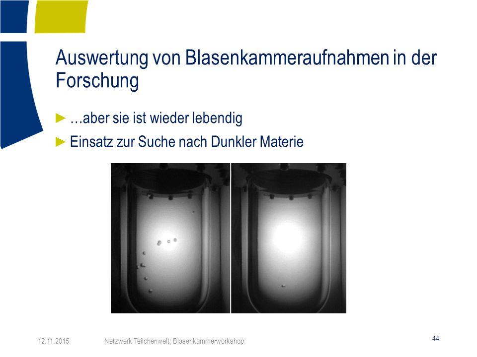 Auswertung von Blasenkammeraufnahmen in der Forschung 44 ► …aber sie ist wieder lebendig ► Einsatz zur Suche nach Dunkler Materie 12.11.2015 Netzwerk