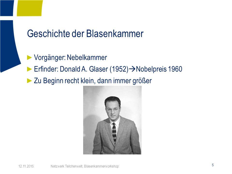 Geschichte der Blasenkammer 5 ► Vorgänger: Nebelkammer ► Erfinder: Donald A. Glaser (1952)  Nobelpreis 1960 ► Zu Beginn recht klein, dann immer größe