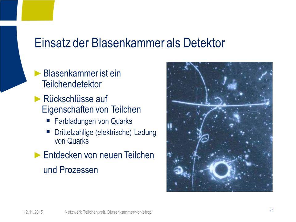 Identifikation von Teilchenspuren 17 12.11.2015 Netzwerk Teilchenwelt, Blasenkammerworkshop