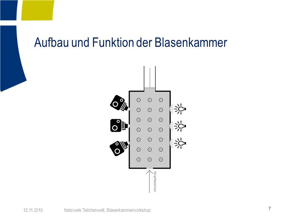 Aufbau und Funktion der Blasenkammer 7 12.11.2015 Netzwerk Teilchenwelt, Blasenkammerworkshop