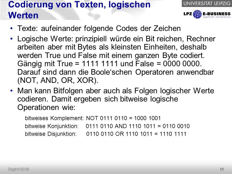 11 DigInf 05/06 Codierung von Texten, logischen Werten Texte: aufeinander folgende Codes der Zeichen Logische Werte: prinzipiell würde ein Bit reichen