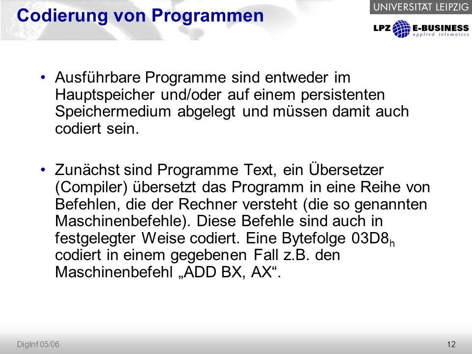 12 DigInf 05/06 Codierung von Programmen Ausführbare Programme sind entweder im Hauptspeicher und/oder auf einem persistenten Speichermedium abgelegt und müssen damit auch codiert sein.
