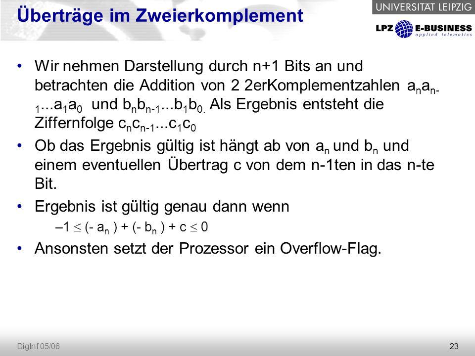 23 DigInf 05/06 Überträge im Zweierkomplement Wir nehmen Darstellung durch n+1 Bits an und betrachten die Addition von 2 2erKomplementzahlen a n a n- 1...a 1 a 0 und b n b n-1...b 1 b 0.