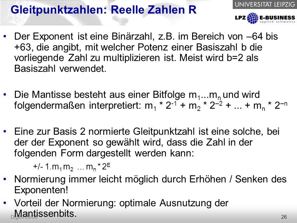 26 DigInf 05/06 Gleitpunktzahlen: Reelle Zahlen R Der Exponent ist eine Binärzahl, z.B. im Bereich von –64 bis +63, die angibt, mit welcher Potenz ein