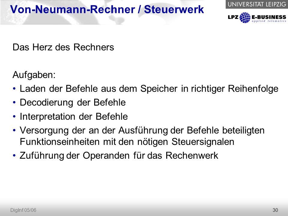 30 DigInf 05/06 Von-Neumann-Rechner / Steuerwerk Das Herz des Rechners Aufgaben: Laden der Befehle aus dem Speicher in richtiger Reihenfolge Decodieru