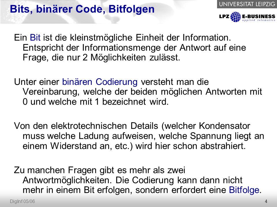 4 DigInf 05/06 Bits, binärer Code, Bitfolgen Ein Bit ist die kleinstmögliche Einheit der Information. Entspricht der Informationsmenge der Antwort auf