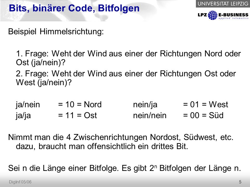 5 DigInf 05/06 Bits, binärer Code, Bitfolgen Beispiel Himmelsrichtung: 1. Frage: Weht der Wind aus einer der Richtungen Nord oder Ost (ja/nein)? 2. Fr